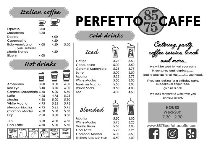 Perfetto caffè menu OTTOBRE 2019 fronte