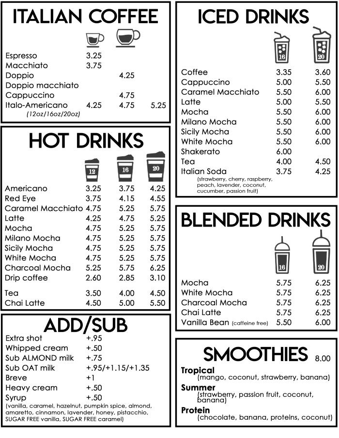 menu 2021 drink